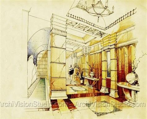Interior Color Design rendering on colored paper watercolor sketches art