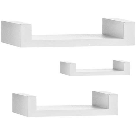 set of 3 retro white floating wall storage shelves shelf