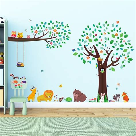 decowall dm 1312p1410 grand arbre et animal friends et grosse branche et owls stickers muraux