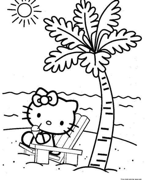 hello kitty coloring pages online hello kitty at the beach coloring pages for kidsfree