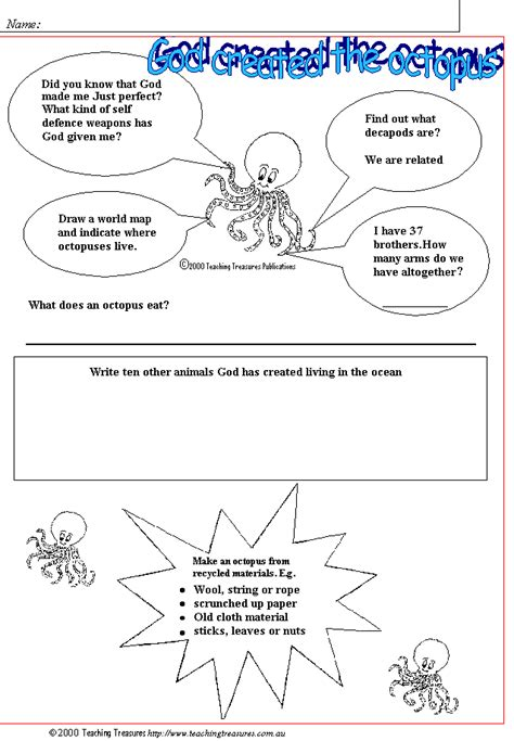 christian printables god created the octopus student worksheet 4 5