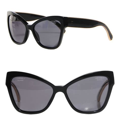 chanel acetate cc cat eye sunglasses 5271 black 104206