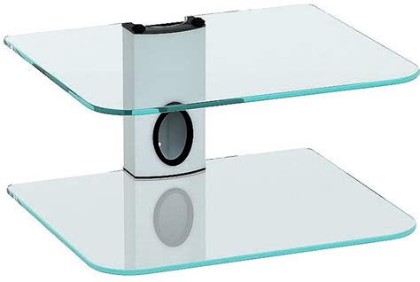 Sky Box Shelf White by Sky Box Dvd Mount Clear Glass 2 Shelf White Column Dvd Bracket