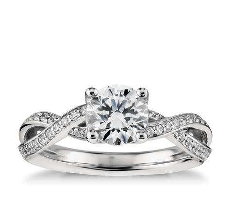 twist pav 233 engagement ring in platinum 1 4 ct tw