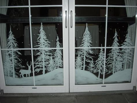 Snowy Forest Doors By Window Painting On Deviantart Window Painting Templates