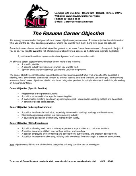 Objective For Resumes by Career Objective On Resume Template Resume Builder
