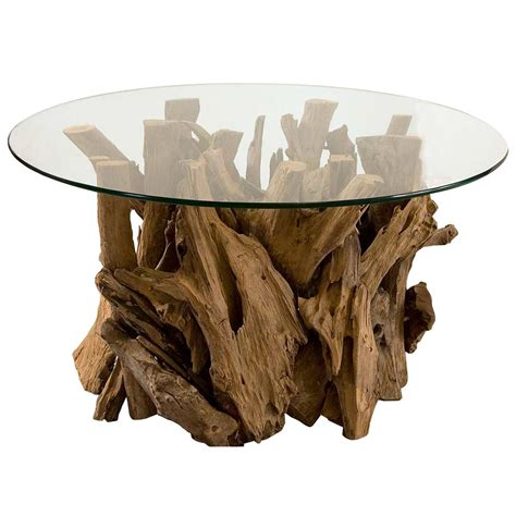 driftwood and glass table plymouth coastal beach teak driftwood round glass coffee