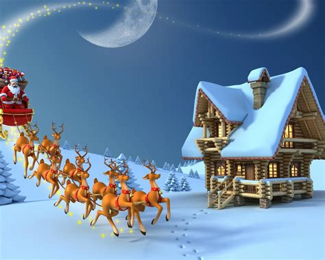 merry christmas reindeer santa claus wooden house snow desktop hd wallpaper