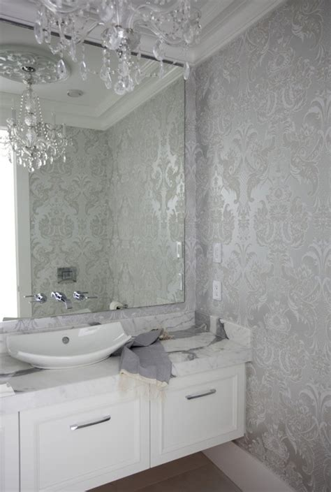 grey wallpaper powder room silver damask wallpaper contemporary bathroom the