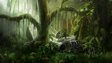 jungle painting artstation jungle crash alex der linde