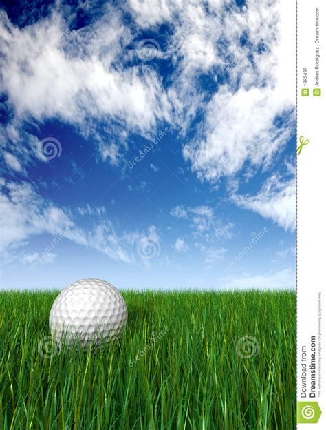 golf ball  grass  blue sky stock illustration