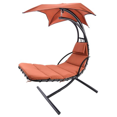 umbrella swing chair hanging steel chaise lounger chair arc stand swing hammock