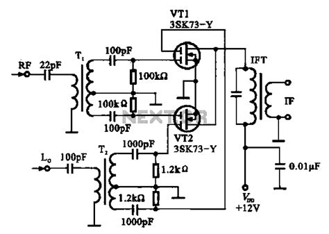 balanced diode mixer schematic gt audio gt mixers gt balanced mixer circuit consisting of two dual gate field effect transistor