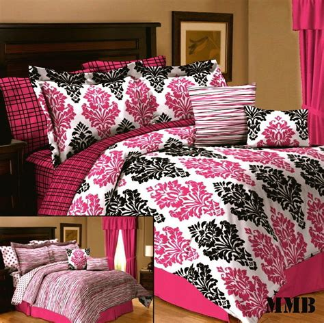 10pc queen full twin girl dorm pink black and white damask