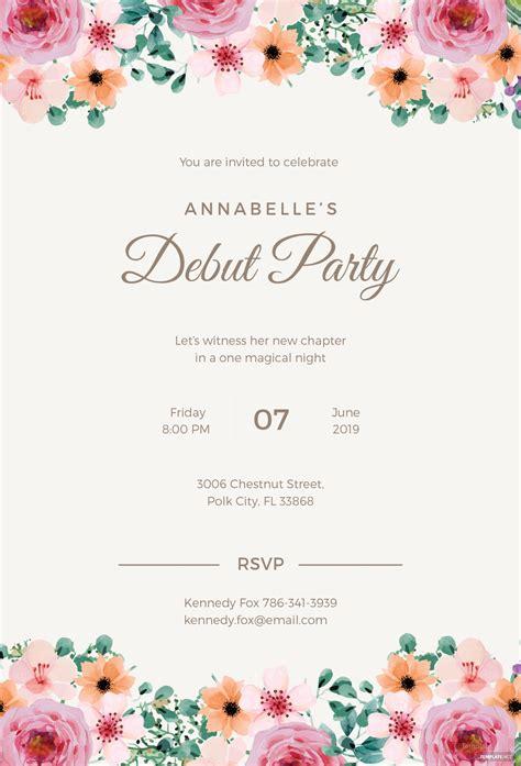 Free Formal Debut Invitation Template In Microsoft Word Microsoft Publisher Adobe Illustrator Free Invitations Templates To