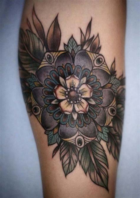 black and white flower tattoo design tattoos pinterest
