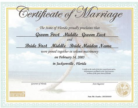 Marriage Records Fl Florida Birth Certificate Record Marriage License