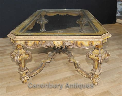 painted glass coffee italian painted baroque coffee table with glass top tables