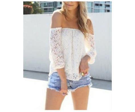 White Lace Shoulder L Xl Shirt 17471 shirt white the shoulder lace top wheretoget