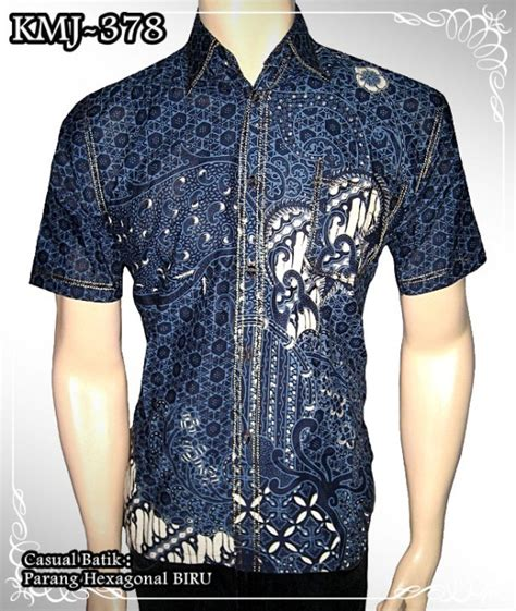 25913 Casual Blouse Blouse Biru Abu Abu batik denim kemeja batik kombinasi seragam batik