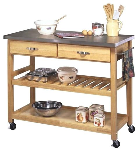 kitchen island and cart stainless steel and wood kitchen cart transitional