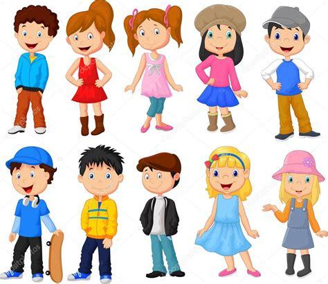 los ninos tontos coleccion 8423309584 colecci 243 n de dibujos animados los ni 241 os lindos vector de