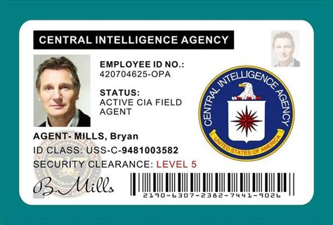 us army id card template taken bryan mills cia id card badge prop liam