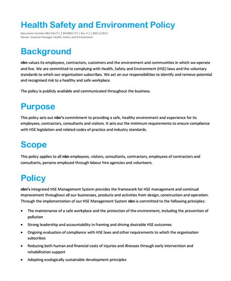 company health and safety policy template environmental policy template 7 free premium templates