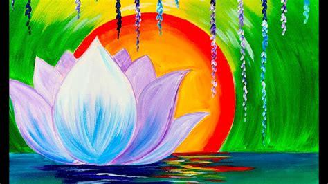 lotus flower painting designs zen lotus flower step by step for beginners acrylic