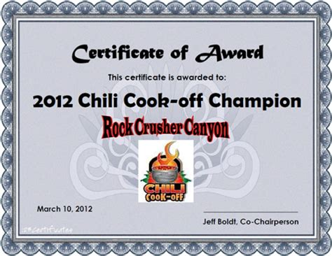 chili cook template free 8 best images of chili cook award certificates chili