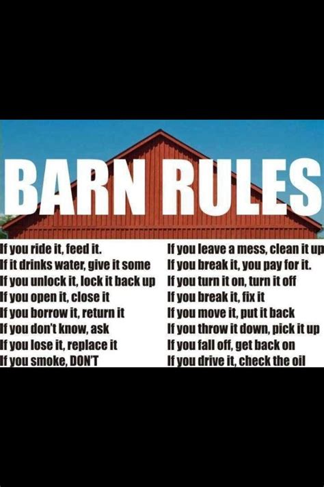 Shed Quote by Barn Sayings Rule And Barns