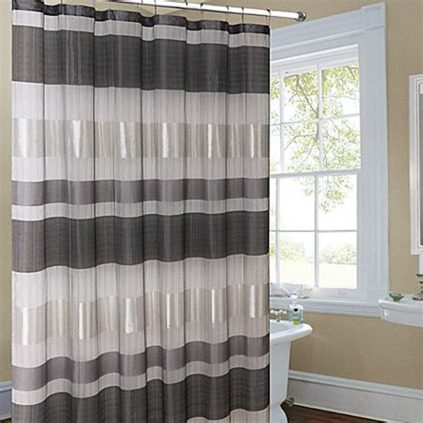 silver shower curtain metallic striped silver fabric shower curtain bed bath