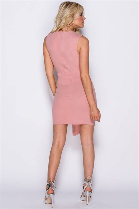 Lace Up Sleeveless Bodycon Dress vestry lace up detail sleeveless bodycon dress in pink