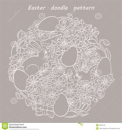 free doodle vector pattern floral doodle pattern happy easter stock vector image