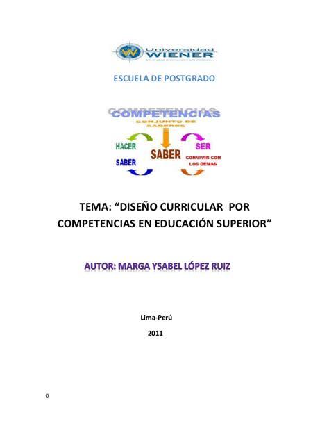 Diseño Curricular Por Competencias En Educacion Dise 209 O Curricular Por Competencias En Educaci 211 N Superior