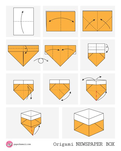 Origami Box Diagram - origami diagrams paper kawaii