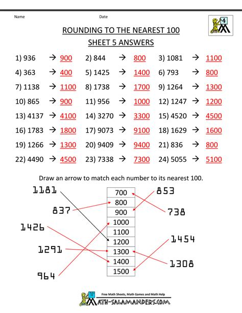 Rounding Numbers Worksheets by Rounding Numbers Worksheets To The Nearest 100