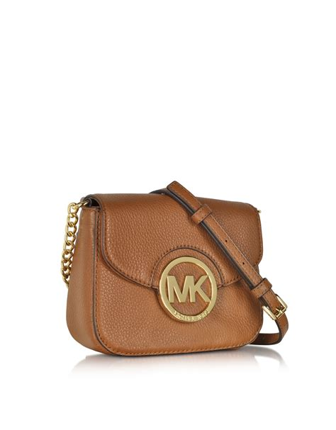 Michael Kors Fulton Lunggage michael kors fulton luggage leather small crossbody bag in metallic lyst