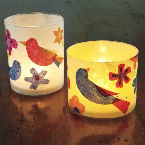 Tissue Paper Decoupage Ideas - decoupage tea lights with colourful tissue paper