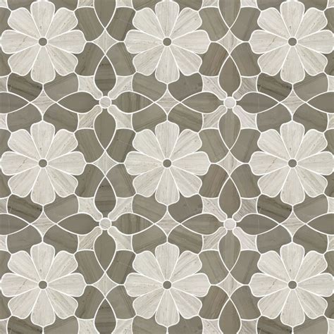 flower design floor tiles flower design white oak wooden gray marble waterjet mosaic