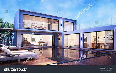 house with pool renders 3d rendering modern house pool villa stock illustration