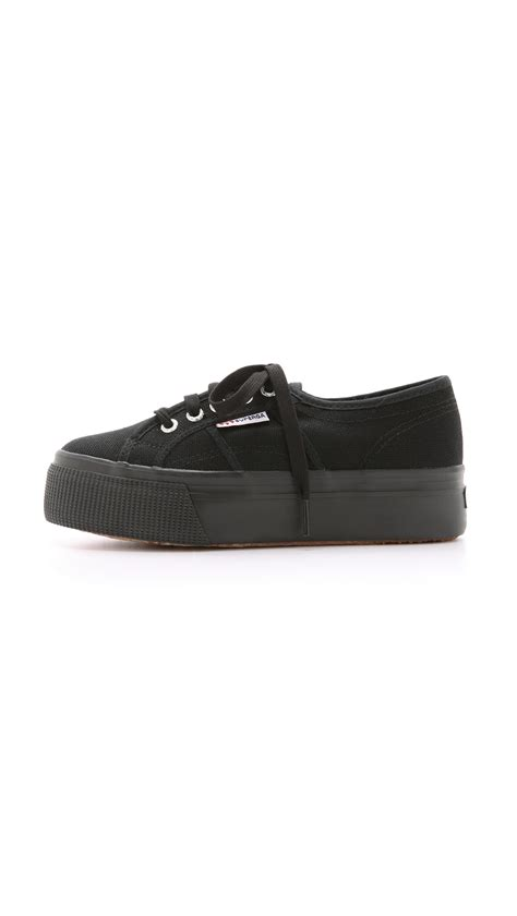 superga white platform sneakers superga platform sneakers white in black lyst