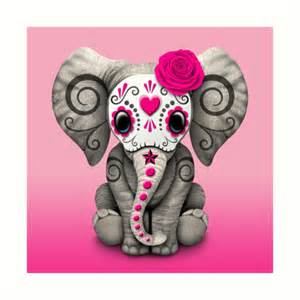Dog Print Duvet Cover Quot Pink Day Of The Dead Sugar Skull Baby Elephant Quot Art
