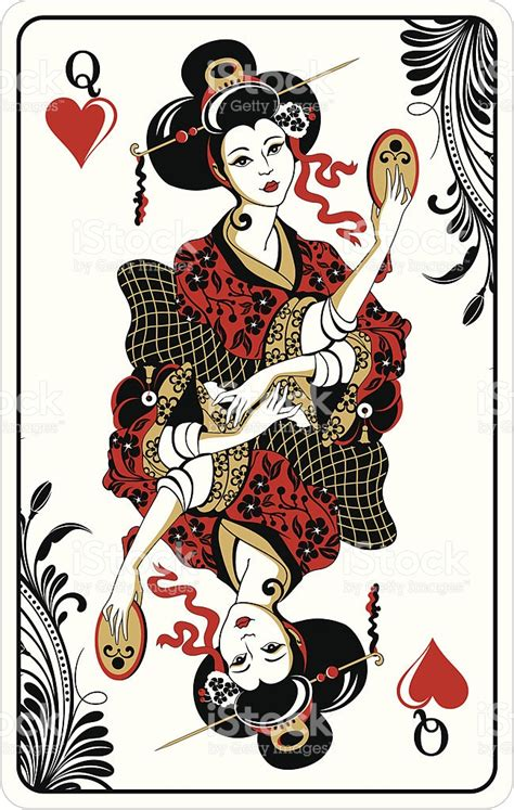 queen of hearts playing card stock vector art 163861669