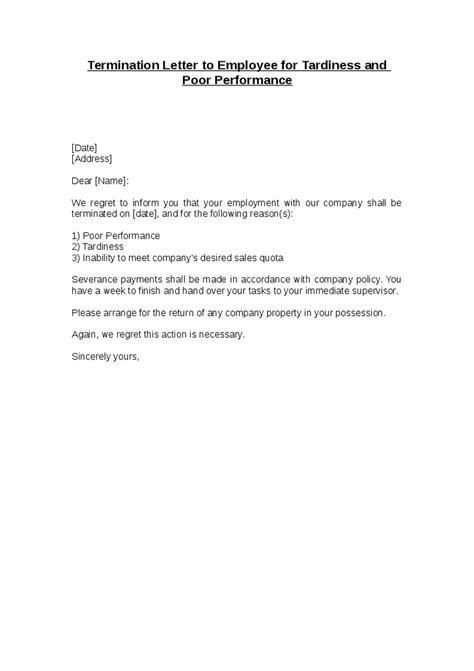 sample termination letter poor performance apparel