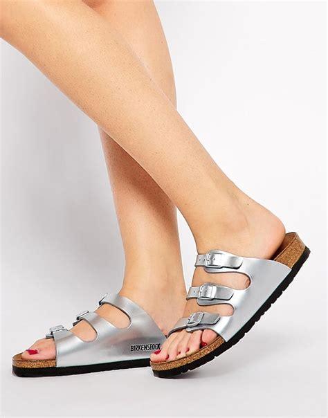birkenstock florida steel silver metallic flat sandals