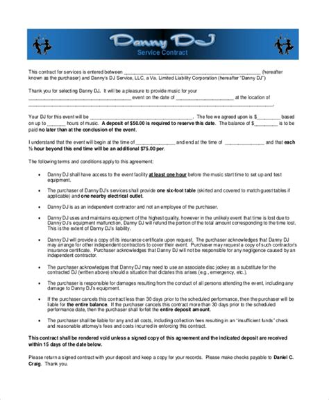 Sle Dj Contract Form 8 Free Documents In Pdf Doc Dj Service Contract Template
