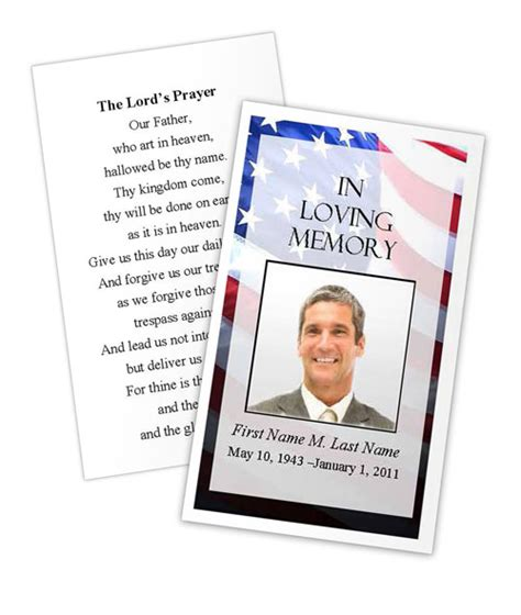patriotic us prayer card template funeral card