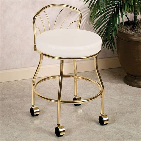 Flare Back Metallic Finish Vanity Chair With Casters Vanity Chairs For Bathroom