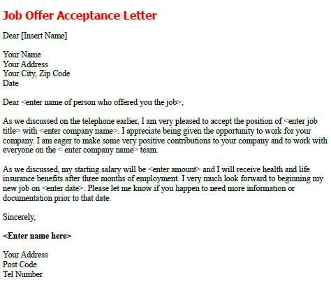 Employment Letter Vs Offer Letter Offer Acceptance Letter Write A Formal Acceptance Letter To Confirm The Details Of